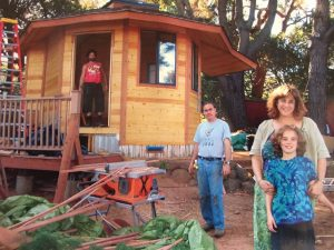 Family Posing in Front of Yurt