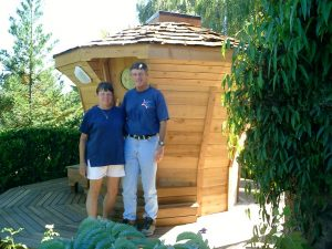 Couple Standing Outside Sauna
